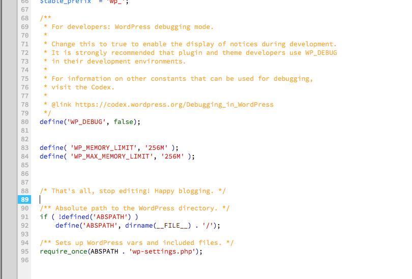 WordPress Memory Limit Upgrade Code Placement